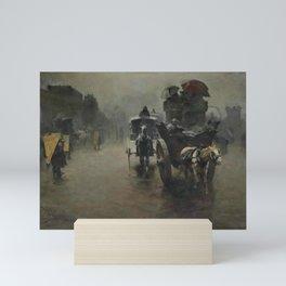 Pieter de Josselin de Jong - Carriages in the Mist, London - Dutch Victorian Retro Vintage Oil Paint Mini Art Print
