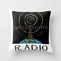 radio Throw Pillows featuring Radio by Ken Coleman