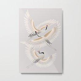traditional Japanese cranes bright illustration Metal Print