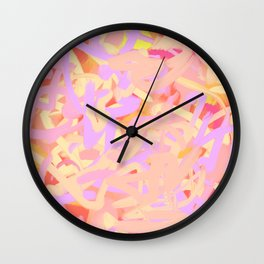 Pink Peach Red Abstract Floral Energy Wall Clock