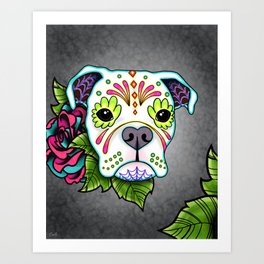 Boxer in White- Day of the Dead Sugar Skull Dog Art Print