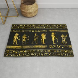 Golden Egyptian Gods and hieroglyphics on leather Rug