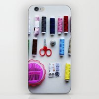 sewing iPhone & iPod Skins featuring Sewing Kit  by Honey Cupcake