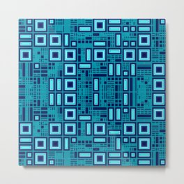 Blue digital geometric abstraction Metal Print
