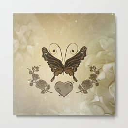 Beautiful elegant butterflies with heart Metal Print