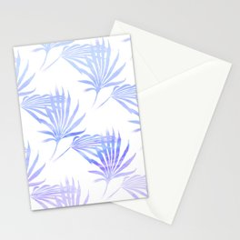 Palmetto Leaf Fronds Print Blue Stationery Cards