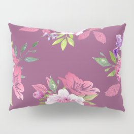 Colorful flowers a purple marsala background Pillow Sham