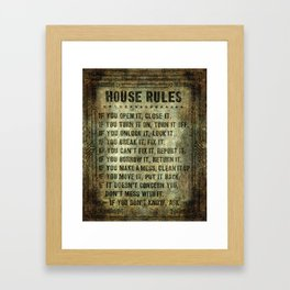 House rules on aged vintage retro looking parchment patina Framed Art Print