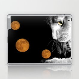 Silver Cat and Moon Laptop & iPad Skin