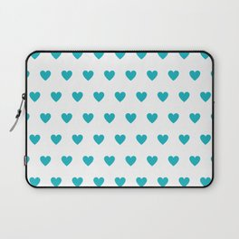 Polka dot hearts - turquoise Laptop Sleeve