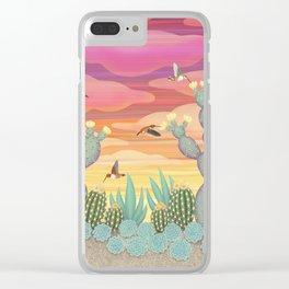 rufous hummingbirds & cactus Clear iPhone Case