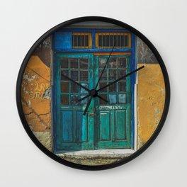 Turquoise Wooden Door - Aged & Worn Wall Clock