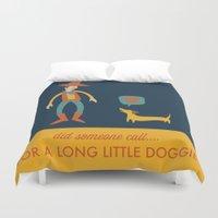 dachshund Duvet Covers featuring Dachshund by Ariel Wilson