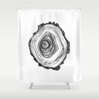 tree rings Shower Curtains featuring Tree Rings - Light by Emily Swedberg (Ito Inez)