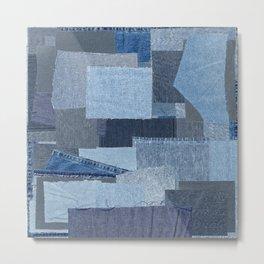 Boroboro Blue Jean Japanese Boro Inspired Patchwork Shibori Metal Print
