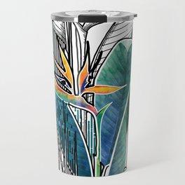 Combined strelitzia pattern Travel Mug