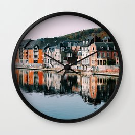 VILLAGE - HOUSE - RIVER - REFLECTION - PHOTOGRAPHY Wall Clock