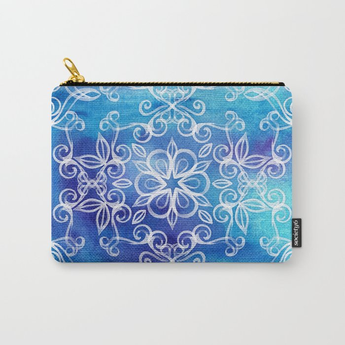 White Floral Painted Pattern on Blue Watercolor Carry-All Pouch