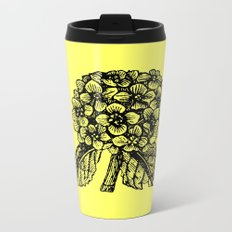 Yellow Hydrangea Metal Travel Mug