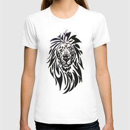 Lion face black and white T-shirt