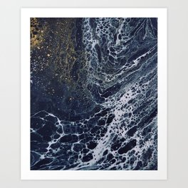 Splash of Gold Marble Art Print