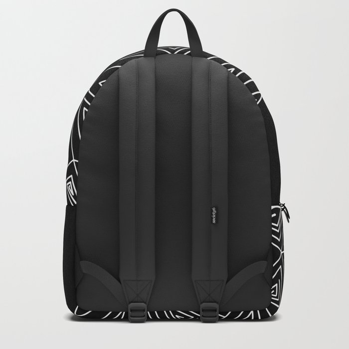 Abstract black and white pattern.Triangles 2 . Backpack
