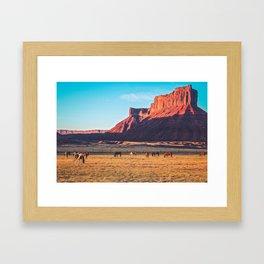 Horses with Desert Vista in Morning Light, Vintage Framed Art Print