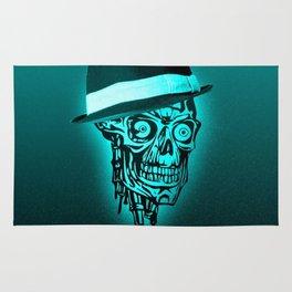 Elegant Skull with hat,mint Rug