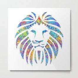 Colorful Watercolor Lion Metal Print