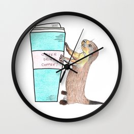 Otter drink coffee Wall Clock