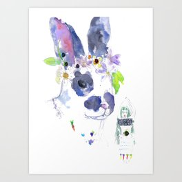 Gaia and her Bunny Art Print