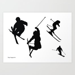 Skiing silhouettes Art Print