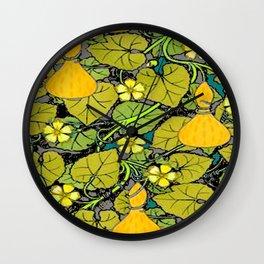 Green Art Nouveau Vines Gourds Floral Teal Art Wall Clock