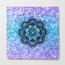 Colorful glitter & black mandala Metal Print
