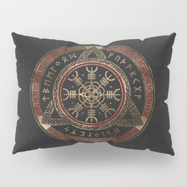 The Helm of Awe  Black and Red Leather and gold Pillow Sham