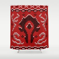 warcraft Shower Curtains featuring Ugly Sweater 2 by SlothgirlArt