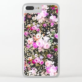 Elegant vintage bright pink floral faux gold confetti Clear iPhone Case