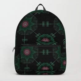 Pink and Green Flower Pattern Backpack