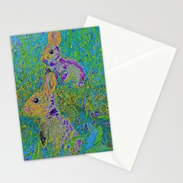Rabbits blue Stationery Cards