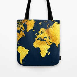 Royal Blue and Gold Map of The World - World Map for your walls Tote Bag