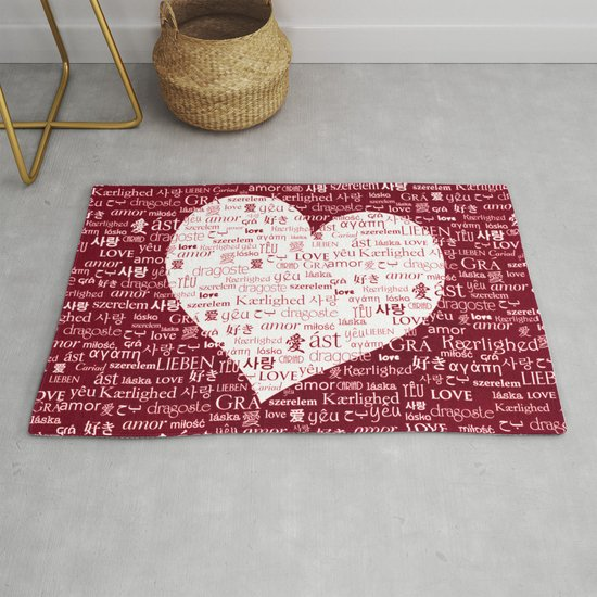 Borderless Love Red Rug By