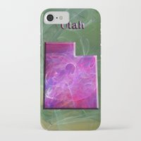 utah iPhone & iPod Cases featuring Utah Map by Roger Wedegis