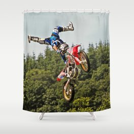 Motocross stuntman Shower Curtain