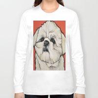 shih tzu Long Sleeve T-shirts featuring Waffles the Shih Tzu by Cheney Beshara