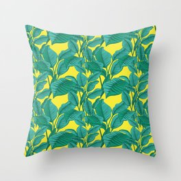 Exotic Tropical Palm Leaf Print - Lime Throw Pillow