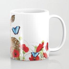 Little Deer - Poppies Field and Morpho Butterflies Coffee Mug