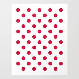 Polka Dots - Crimson Red on White Art Print