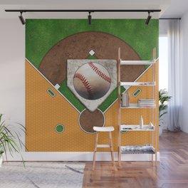 Baseball Field, Base and Ball over Orange Sports Pattern Wall Mural