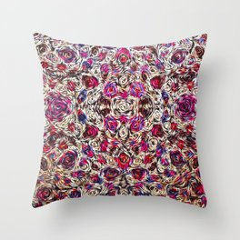 Abstract composition, pattern of stylized purple flowers Throw Pillow