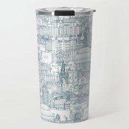 Edinburgh toile denim white Travel Mug